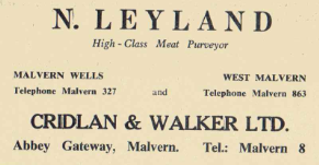 Advert for N Layland of Cridlan and Walker who was supplied by meat slaughtered in Wedderburn Road