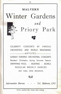 Advertisement for Malvern Winter Gardens 1940s
