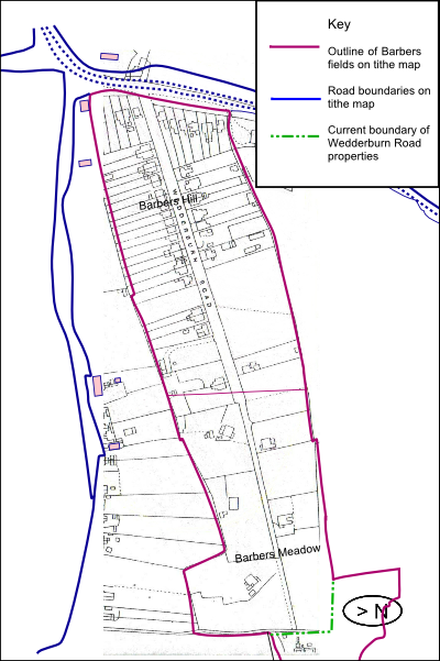 Overlay of 1841 tithe field outlines and 1937 maps showing how the field boundaries created the outline of the Barbers Hill / Wedderburn Road property