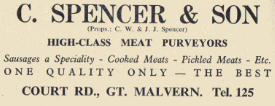 Advert for Spencer, the butcher in Court Road supplied with animals sluaghtered in Wedderburn Road