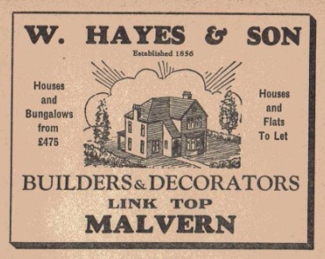 Advertisment for W Hayes and Sons. The property developers who owned land in Wedderburn Road