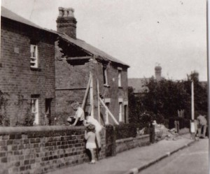 A house in Quest Hills road damaged by an incendiary bomb 1940