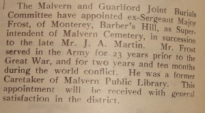 Newspaper article on a Barbers Hill resident who had fought in the War