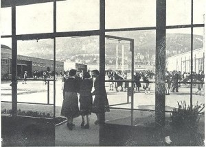 View from the Concourse towards the Hills, with pupils in the playground