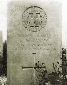 Military gravestone of John H Tandy, Ypres, Belgium