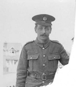 John H Tandy in a private's uniform, posing for the camera pre-1918