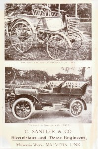 Two photographs showing two early Santler cars, 1889 and 1907