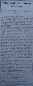 Malvern Gazette article on marriage of widow of Jesse Spragg in November 1922