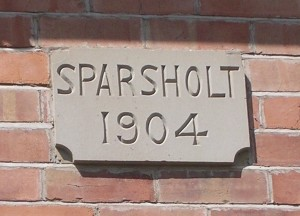 The plaque bearing the name of the house: Sparsholt